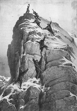 Golden age of alpinism - The First Ascent of the Matterhorn, by Gustave Doré. This ascent, by Edward Whymper and party in 1865, traditionally marks the end of the golden age of alpinism.