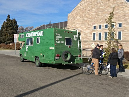 A canvassing campaign, Medicaid for Idaho, to put Medicaid expansion on the ballot in early 2018; the Methodist Cathedral of the Rockies hosted the volunteers MedicaidForIdahoVan.jpg