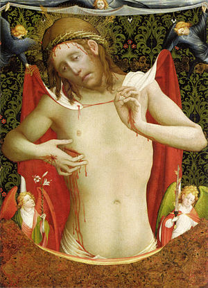 Man of Sorrows - Meister Francke: Man of sorrows, with angels, c. 1430