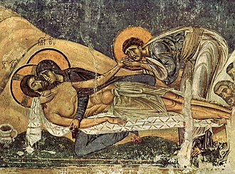 Byzantine art - Frescoes in Nerezi near Skopje (1164), with their unique blend of high tragedy, gentle humanity, and homespun realism, anticipate the approach of Giotto and other proto-Renaissance Italian artists.