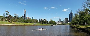 Yarra River & Melbourne City Skyline View at A...