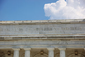 "Dulce et decorum est pro patria mori - Detail of the inscription over the rear entrance to Memorial Amphitheater at Arlington National Cemetery in Arlington, Virginia. The inscription reads: ""Dulce et decorum est pro patria mori""."