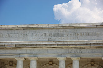 "Dulce et Decorum est - Detail of the inscription over the rear entrance to the Arlington Memorial Amphitheater. The inscription reads: ""Dulce et decorum est pro patria mori"", written by the Roman poet Horace"