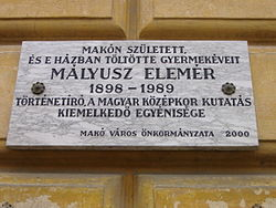 Memorial tablet Mályusz Elemér.JPG