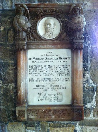 "Memorial in Sheffield Cathedral (until 1914 Sheffield Parish Church). It quotes the opening bars of ""God is a Spirit"". Memorial to Sir William Sterndale Bennett.jpg"