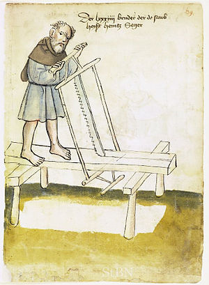 Saw - Rip sawing circa 1425 with a frame or sash saw on trestles rather than over a saw pit
