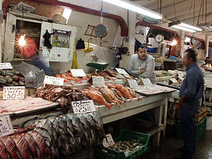 Popular fixed markets in Mexico - Fish market in Ensenada, Baja California.
