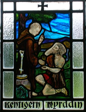 Gwenddoleu ap Ceidio - Merlin (Myrddin) being converted to Christianity by Saint Kentigern (Mungo) at Stobo Kirk, Borders, Scotland.