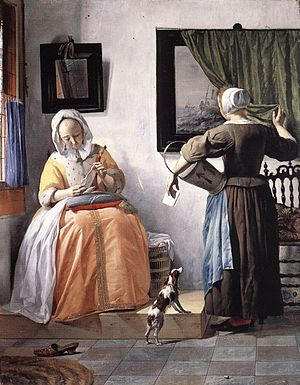 1665 in art - Image: Metsu lady reading a letter (1665)
