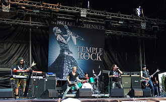 Michael Schenker Group - MSG at Kavarna Rock Fest 2012. From left: Wayne Findlay, Francis Buchholz, Herman Rarebell, Doogie White, Michael Schenker.