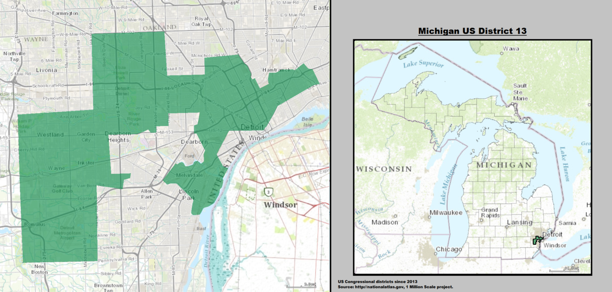 Michigans Th Congressional District Wikipedia - Us house district 13 map