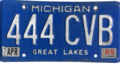 Michigan license plate, 1983–1990 with April 1985 sticker.png