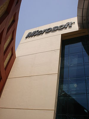 History of Microsoft - The Microsoft sign at the entrance of the Dubai Microsoft campus, Dubai Internet City. Microsoft has developed Arabic versions for most of its products.
