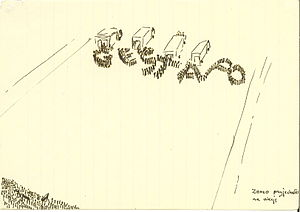 "ZOMO - ""ZOMO arrived for an action"", a political caricature from the 1980s"