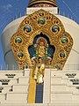 Mindrolling monastary stupa at Dehradun showing Buddha's descent from Devaloka.jpg
