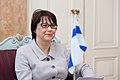 Ministru prezidents Valdis Dombrovskis tiekas ar Somijas vēstnieci Latvijā Pirko Hamalainenu (8032310489).jpg