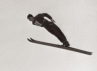 Ski jumping techniques - Miro Oman using the Windisch technique, 1958