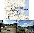 Miyagi - Minamisanriku - Utatsu -a- Tsunami heights -b and c- Tsunami damage.jpg