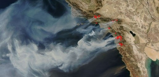 Modis Image of California Wildfires taken on October 22, 2007