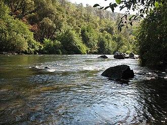 Mokelumne River - The Mokelumne River near the State Highway 49 bridge above Pardee Reservoir