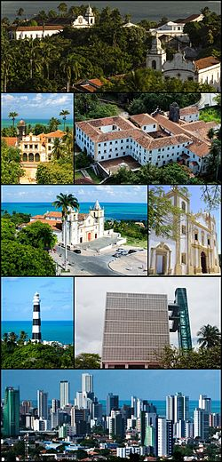 Top:Church of Our Lady of Grace Seminary (Igreja de Nossa Senhora da Graça Foi), 2nd left:Church of Our Lady of the Snows (Igreja de Nossa Senhora das Neves Seminário de Olinda) in Convent of San Francisco (Convento de São Francisco), 2nd right:Church and Monastery of St. Benedict, 3rd left:Panoramic view of the Alto da Sé, from the Panoramic lift of Olinda, 3rd right:Church of Carme, 4th left:Olinda Lighthouse, 4th right:Panoramic lift of Olinda, Bottom View of Atlantic Ocean and downtown area