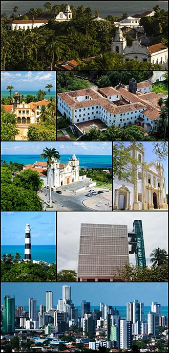 Olinda - Top:Church of Our Lady of Grace Seminary (Igreja de Nossa Senhora da Graça Foi), 2nd left:Church of Our Lady of the Snows (Igreja de Nossa Senhora das Neves