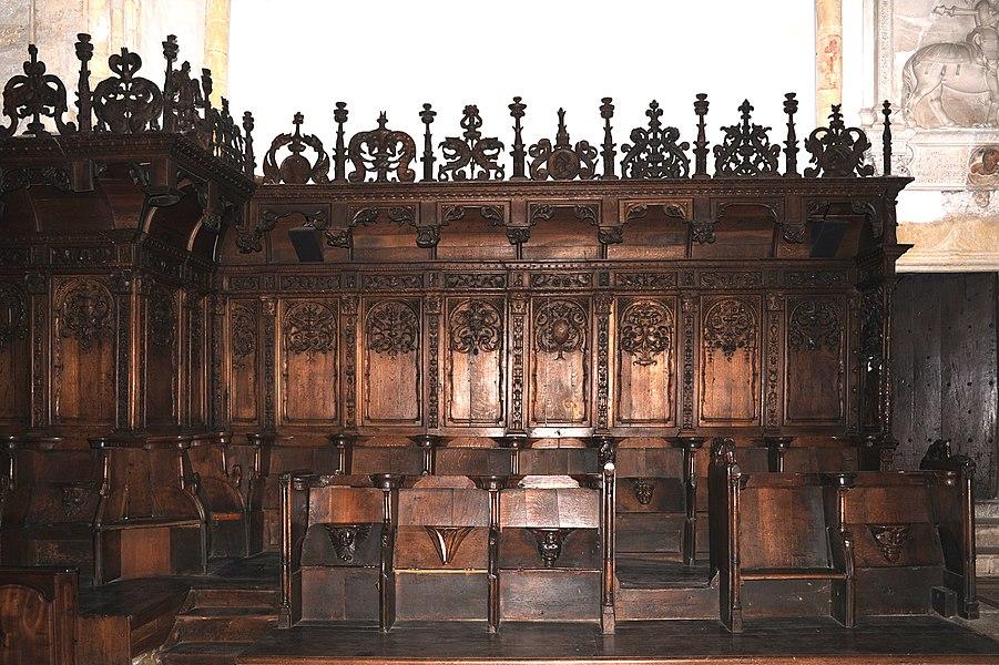 Church choir stalls; Montbenoît, France.