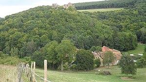 "Hallgarten (Pfalz) - The Montforterhof – the ""New Castle"", with Montfort Castle up on the hill"