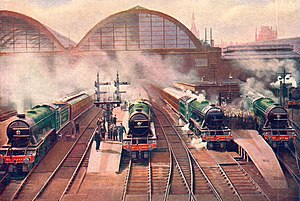 Morning rush from King's Cross (CJ Allen, Steel Highway, 1928).jpg