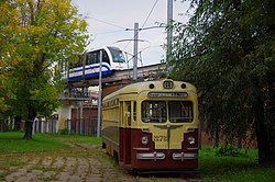 Moscow tram MTV-82 and monorail