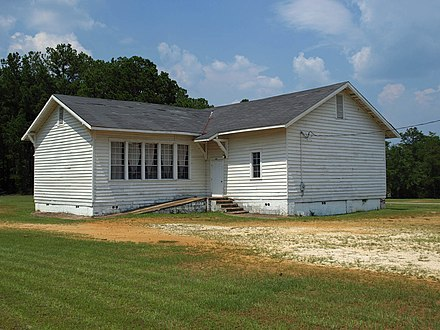 The former Mount Sinai School in rural Autauga County, completed in 1919. It was one of the 387 Rosenwald Schools built in the state. Mount Sinai School Autauga County July 2011 1.jpg