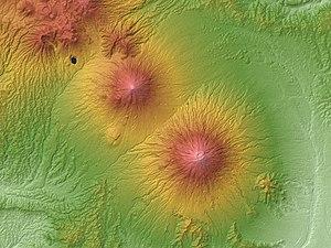 Mount Sumbing - Image: Mount Sundoro & Mount Sumbing Relief Map, SRTM 1