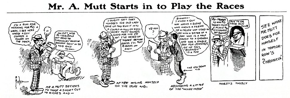 Bud Fisher's Mutt and Jeff (1907–1982) was the first successful daily comic strip (1907).