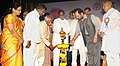 Mukhtar Abbas Naqvi and the Minister of State for Labour and Employment (Independent Charge), Shri Bandaru Dattatreya lighting the lamp to inaugurate the Exhibition-cum-awareness programme on three years of Good Governance.jpg