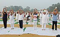 Mukhtar Abbas Naqvi performing Yoga along with other participants, on the occasion of the 2nd International Day of Yoga – 2016, at Chaudhary Charan Singh University Ground, Meerut (UP).jpg