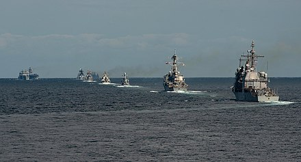 Multinational ships steam in formation at the ROK international Fleet Review 2018. Multinational ships steam in formation during an exercise at the RoK international Fleet Review 2018 - 181011-N-DK042-0154.jpg
