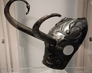 Prehistoric art in Scotland - The Torrs Pony-cap and Horns, around 200 BCE, National Museum of Scotland, as displayed in 2011