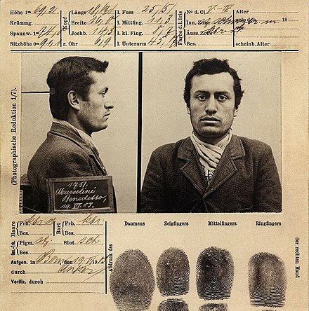 Mussolini's booking file following his arrest by the police on 19 June 1903, Bern, Switzerland Mussolini mugshot 1903 Bern.jpg