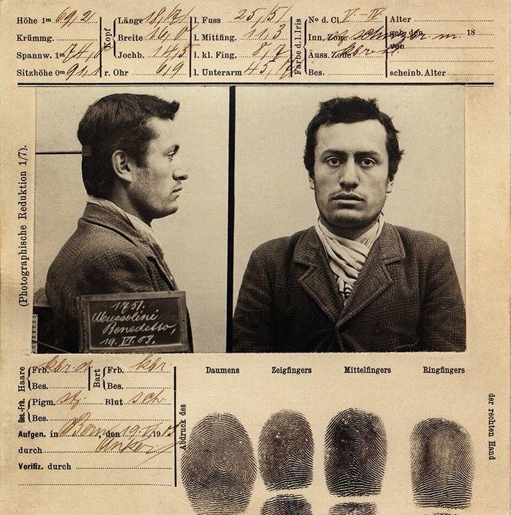 Mussolini mugshot 1903 Bern