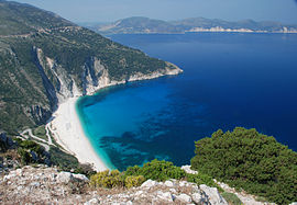 Myrtos Beach seen from the coast road