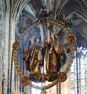 Veit Stoss - Angelic Salutation (1517–1518) in the St. Lorenz Kirche, Nuremberg