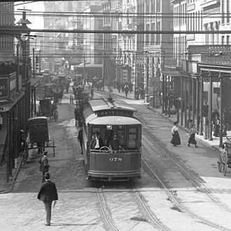 Light rail in the United States - New Orleans streetcars, early 1900's.