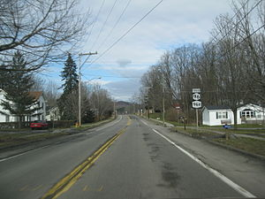 New York State Route 96B - NY 96B (signed with NY 96 Truck) head northbound through Candor