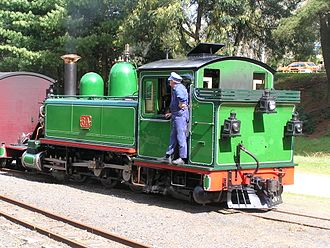 Narrow-gauge lines of the Victorian Railways - NA class locomotive, preserved on the Puffing Billy Railway in the original green livery used by the Victorian Railways until 1903. Photographed at Gembrook in 2006.