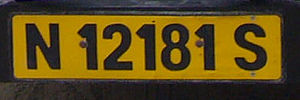 Vehicle registration plates of Namibia - Namibian plate from Swakopmund