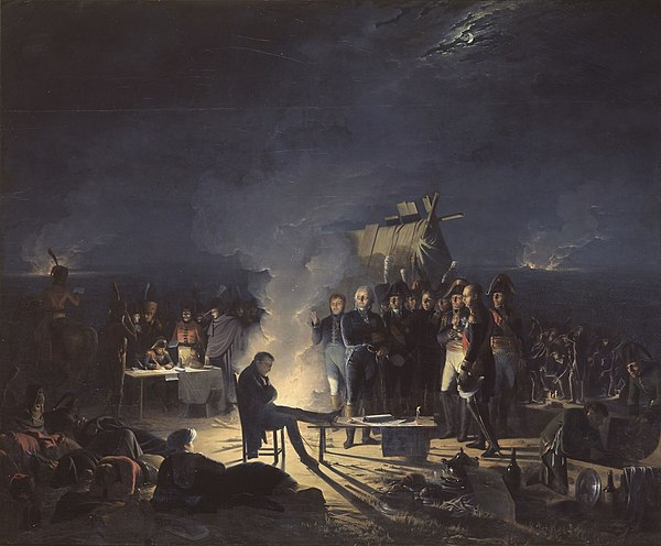 Napoleon in conference with his senior Generals late on 5 July, after the first day of battle. Napoleon bivouac Wagram.jpg