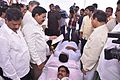 Nara Lokesh and Devineni Uma donating blood at NTR trust's LBD minister Narayana looks by.jpg