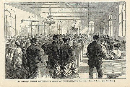 February 6, 1869 illustration from Harper's Weekly: The National Colored Convention in Session at Washington, D.C.--Sketched by Theo. R. Davis