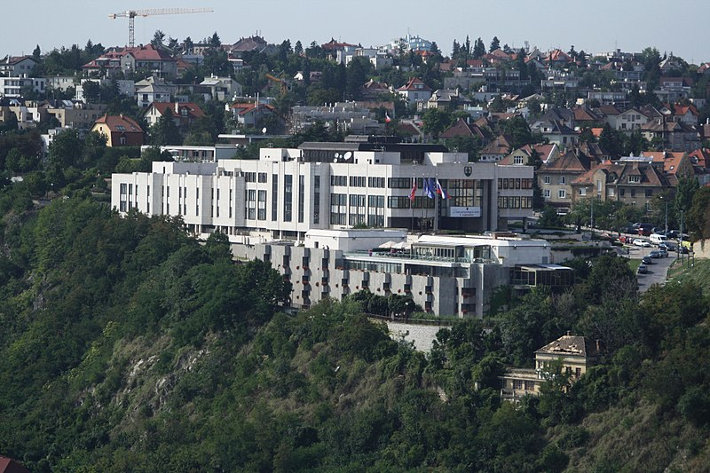 Súbor:National Council of the Slovak Republic, view from Nový most viewpoint in Bratislava, Bratislava I District.jpg