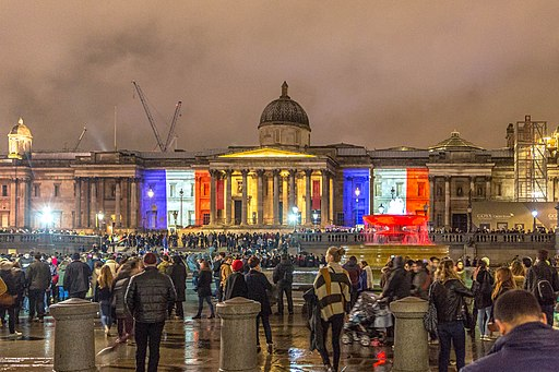National Gallery London in French flag colours after Paris attack (22628439449)